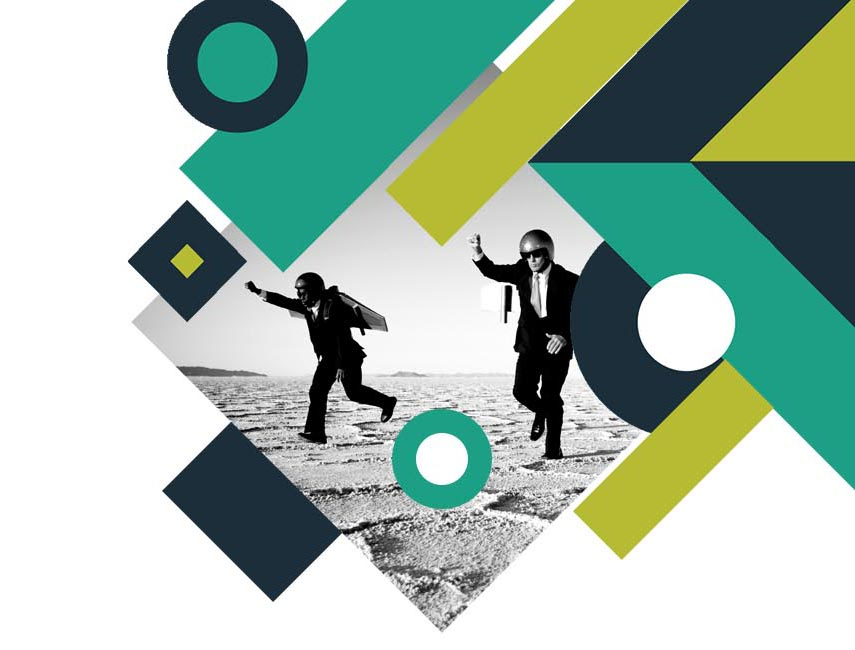 image of two men in suits playing as aeroplanes in a desert